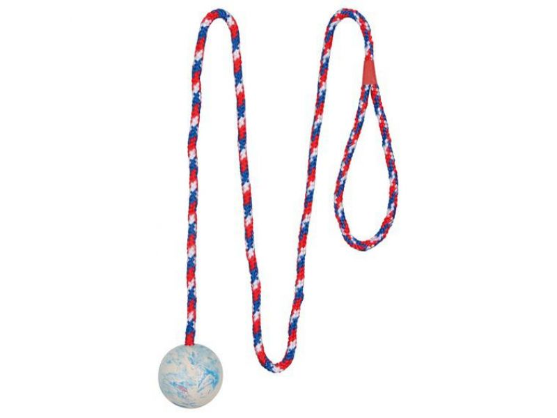"""Trixie Игрушка """"Мяч на веревке"""" для собак, натуральный каучук (3304), 5*100 см - Фото"""