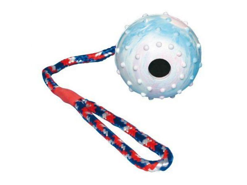 """Trixie Игрушка """"Мяч на веревке"""" для собак, натуральный каучук (3308), 7*30 см  - Фото"""