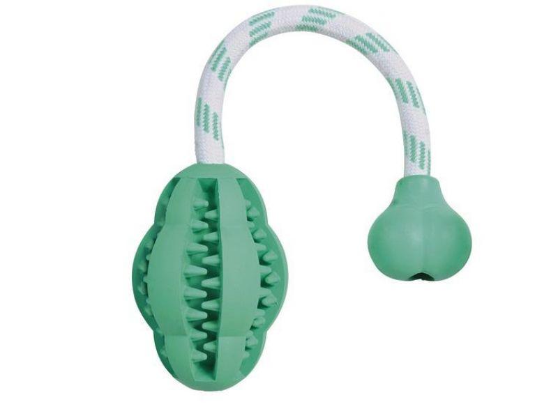 Trixie Игрушка на веревке с мятным вкусом Denta Fun, для собак, резина (32945), 8*28 см  - Фото