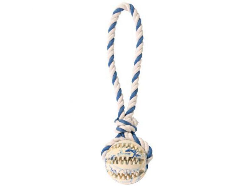 "Trixie Игрушка ""Мяч DENTA Fun на веревке"" для собак, резина (3299), 7*24 см   - Фото"