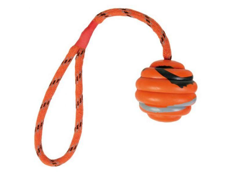 """Trixie Игрушка """"Мяч на веревке"""" для собак, резина (33724), 6*30 см  - Фото"""