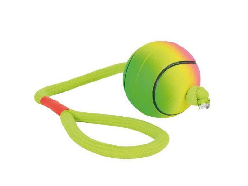 """Trixie Игрушка """"Мяч неоновый с веревкой"""" для игры на воде, для собак, мягкая резина (3459), 6*30 см   - Фото"""