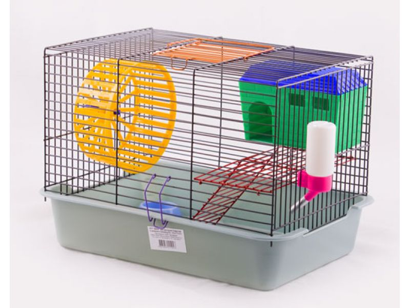 Вака Клетка для грызунов двухъярусная с домиком и миской, 38,5*27,5*26,5 см  - Фото