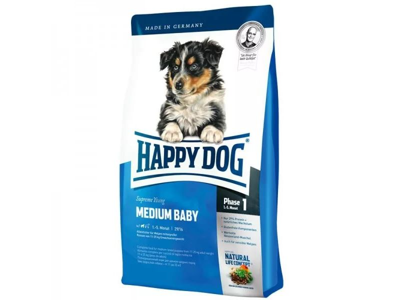 Сухой корм Happy Dog Supreme для ЩЕНКОВ СРЕДНИХ пород: до 5 мес. (Medium Baby 28), 4 кг - Фото