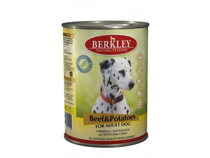 Влажный корм (консервы) Berkley с ГОВЯДИНОЙ и КАРТОФЕЛЕМ, для взрослых СОБАК, 400 г    - Фото