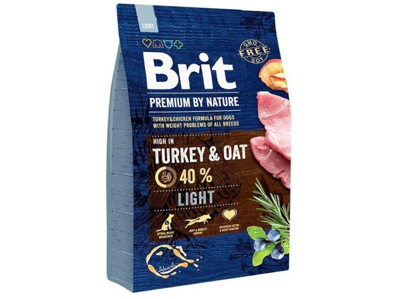 Brit Premium by Nature Сухой корм для собак всех пород, склонных к ПОЛНОТЕ (Light Turkey & Oats), 3 кг - Фото