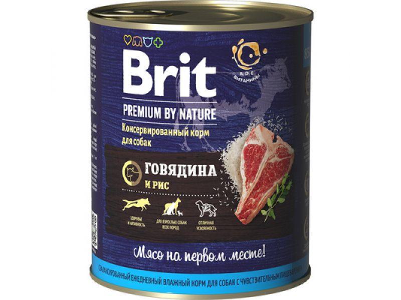 Brit Premium by Nature КОНСЕРВЫ с ГОВЯДИНОЙ и РИСОМ для собак (Beef & Rice), 850 гр - Фото