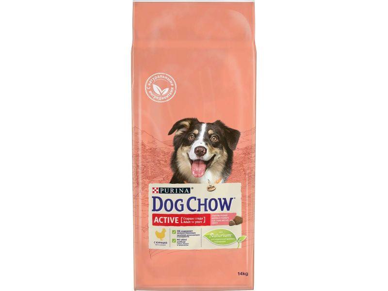 Dog Chow Сухой корм с КУРИЦЕЙ для АКТИВНЫХ собак (Adult Active), 14 кг - Фото