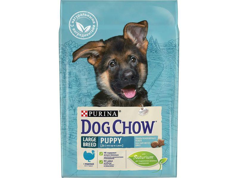 Dog Chow Сухой корм с индейкой для ЩЕНКОВ КРУПНЫХ ПОРОД (Puppy-Junior Large Breed)  - Фото