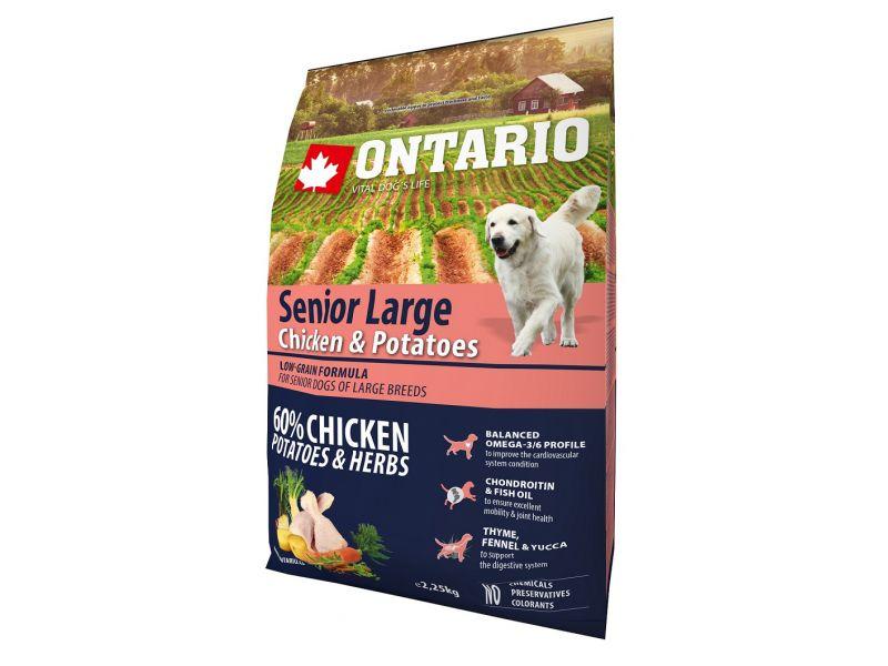 Ontario Сухой корм для ПОЖИЛЫХ собак КРУПНЫХ пород: КУРИЦА и КАРТОФЕЛЬ (Ontario Senior Large Chicken&Potatoes) - Фото
