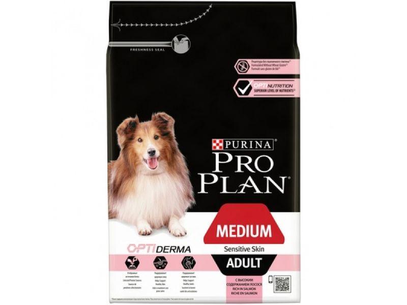 Сухой корм Purina Pro Plan с ЛОСОСЕМ и РИСОМ для собак с ЧУВСТВИТЕЛЬНЫМ ПИЩЕВАРЕНИЕМ и КОЖЕЙ (Medium Adult Sensitive Skin Opti Derma) - Фото