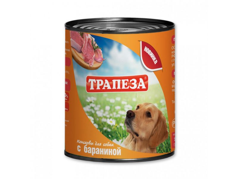 Трапеза Влажный корм (консервы) с БАРАНИНОЙ для собак, 750 гр - Фото