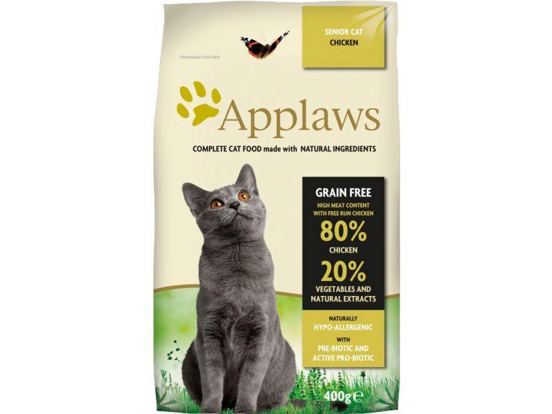 "Applaws Сухой корм ""Курица/Овощи: 80/20%"" беззерновой для ПОЖИЛЫХ кошек (Dry Cat Senior), 400 гр - Фото"