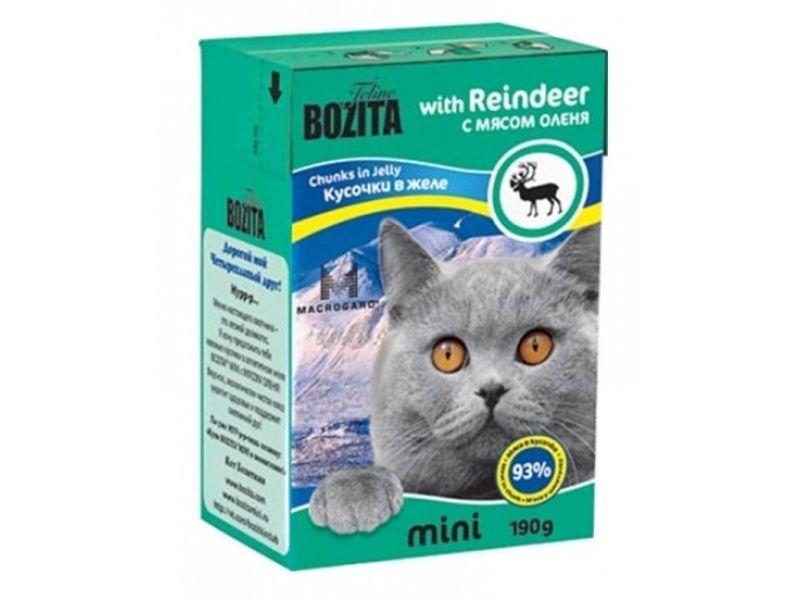 Bozita MINI. Кусочки в ЖЕЛЕ для кошек с мясом ОЛЕНЯ (Reindeer), 190 г - Фото