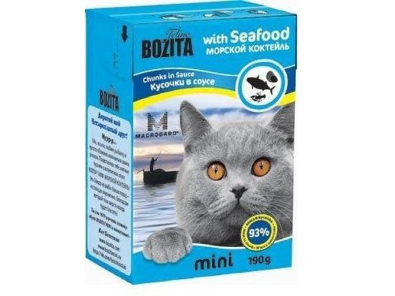 Bozita MINI. Кусочки в СОУСЕ для кошек - МОРСКОЙ коктейль (Seafood), 190 г - Фото