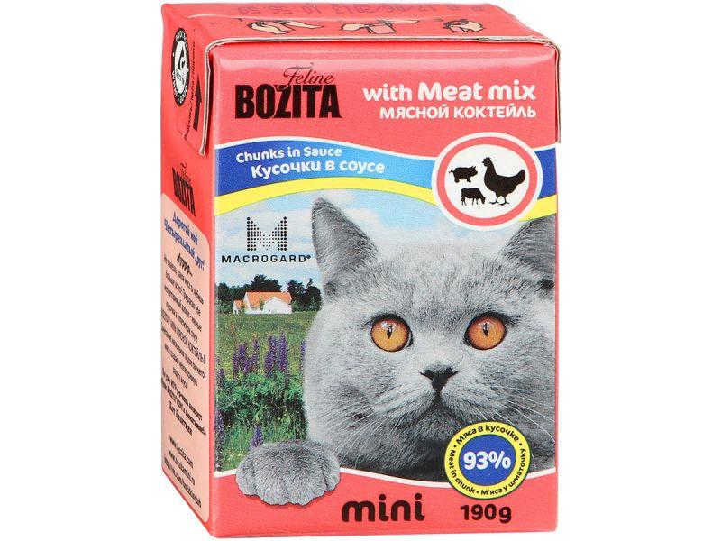 Bozita MINI. Кусочки в СОУСЕ для кошек - МЯСНОЙ коктейль (Meat Mix), 190 г - Фото