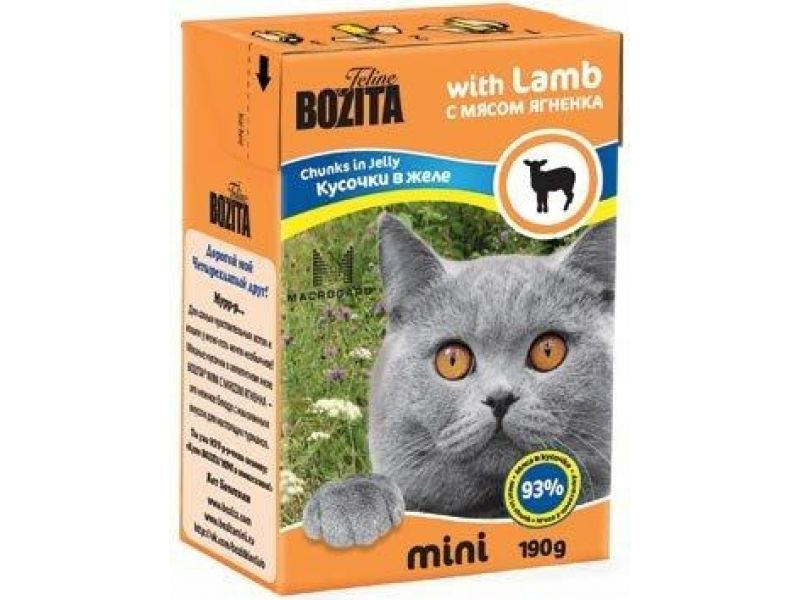 Bozita MINI. Кусочки в ЖЕЛЕ с мясом ЯГНЕНКА (Lamb), для кошек, 190 гр - Фото