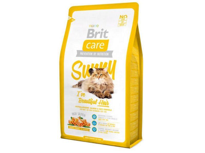 Brit Care Сухой корм с ЛОСОСЕМ для кошек - УХОД за ШЕРСТЬЮ (Care Cat Sunny Beautiful Hair) - Фото