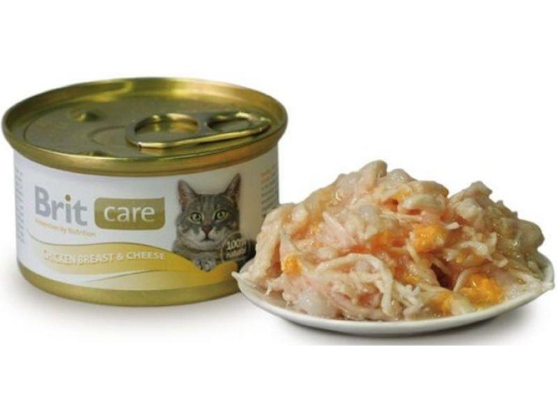 Влажный корм (консервы) Brit из КУРИНОЙ ГРУДКИ с СЫРОМ для кошек (Chicken Breast& Cheese 100059), 80 гр - Фото