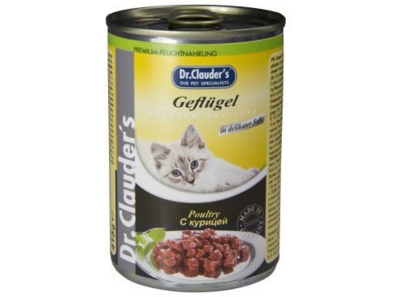 Влажный корм (консервы) Dr. Clauder с КУРИЦЕЙ для кошек, 415 г    - Фото