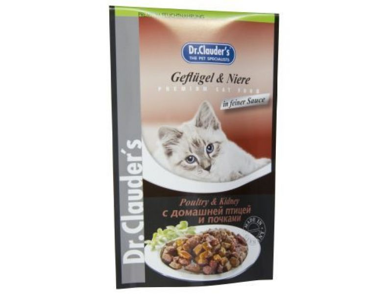 Паучи Dr. Clauder с ДОМАШНЕЙ ПТИЦЕЙ и ПОЧКАМИ в соусе, для кошек, по 100 г  - Фото