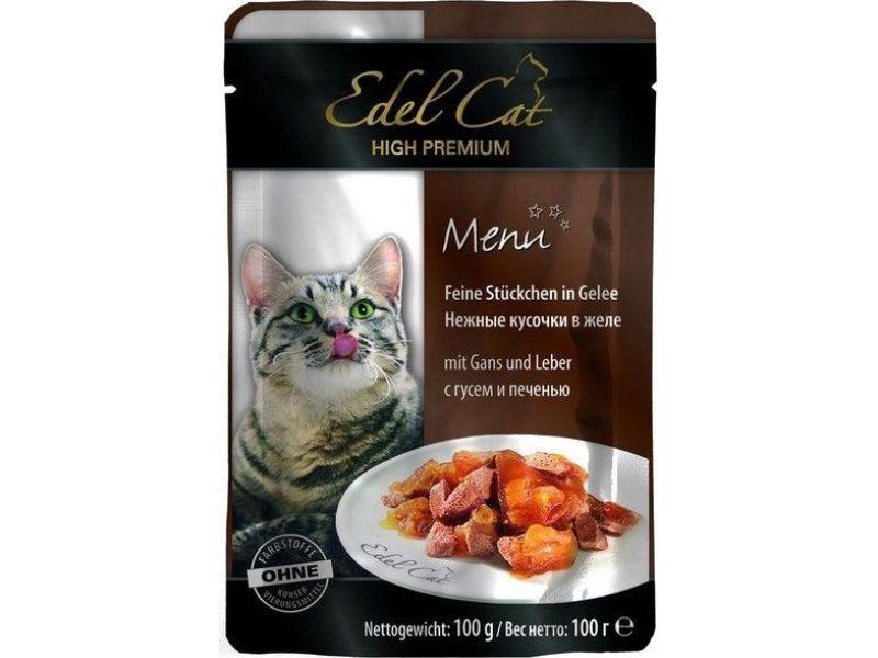 """Edel Cat Паучи """"Нежные кусочки в соусе: ГУСЬ и ПЕЧЕНЬ"""", для кошек, 100 гр    - Фото"""