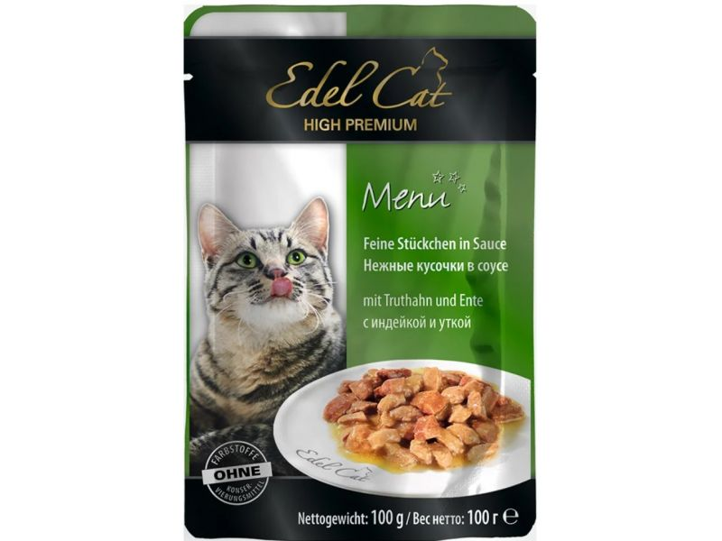 """Edel Cat Паучи """"Нежные кусочки в соусе: ИНДЕЙКА и УТКА"""", для кошек, 100 гр   - Фото"""