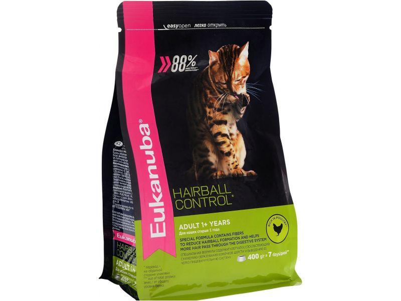 """Eukanuba Сухой корм """"Вывод шерсти"""" для взрослых кошек, редко выходящих на улицу (Adult Hairball Control) - Фото"""