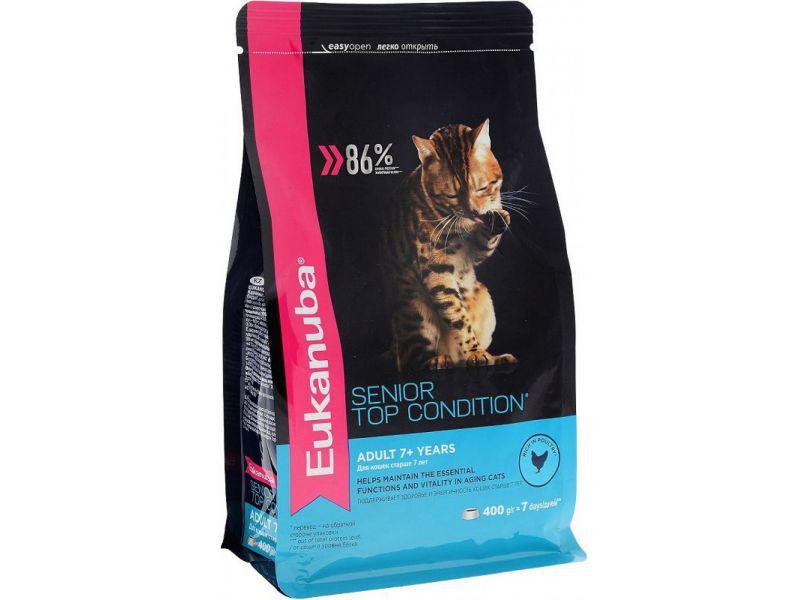 Eukanuba Сухой корм с курицей для ПОЖИЛЫХ кошек (Adult Top Condition 7+) - Фото