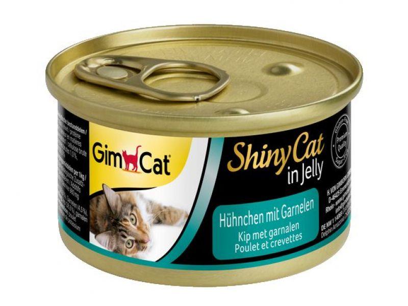 Влажный корм (консервы) Gimpet ShinyCat с ЦЫПЛЕНКОМ и КРЕВЕТКАМИ для кошек (413129), 70 гр  - Фото