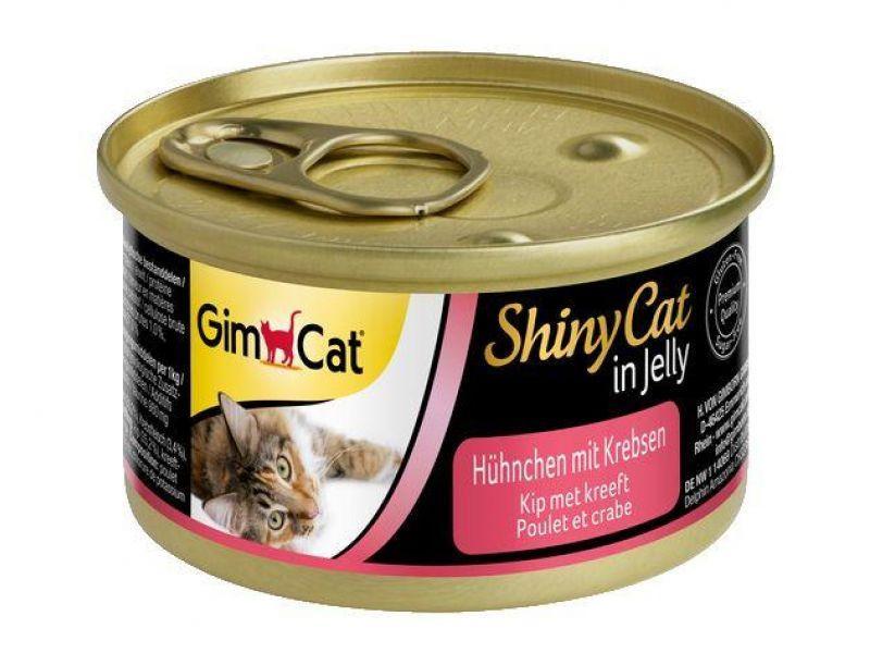 Влажный корм (консервы) Gimpet ShinyCat с ЦЫПЛЕНКОМ и КРАБАМИ для кошек (413334), 70 гр   - Фото