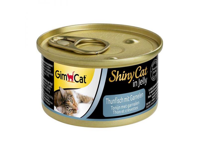 Влажный корм (консервы) Gimpet ShinyCat с ТУНЦОМ и КРЕВЕТКАМИ для кошек (413297), 70 гр  - Фото