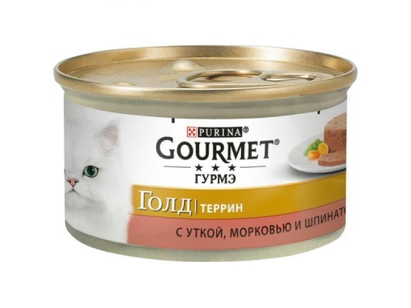 """GOURMET GOLD Консервы """"Кусочки в паштете с УТКОЙ, морковью и шпинатом ПО-ФРАНЦУЗСКИ"""", для кошек, 85 гр  - Фото"""