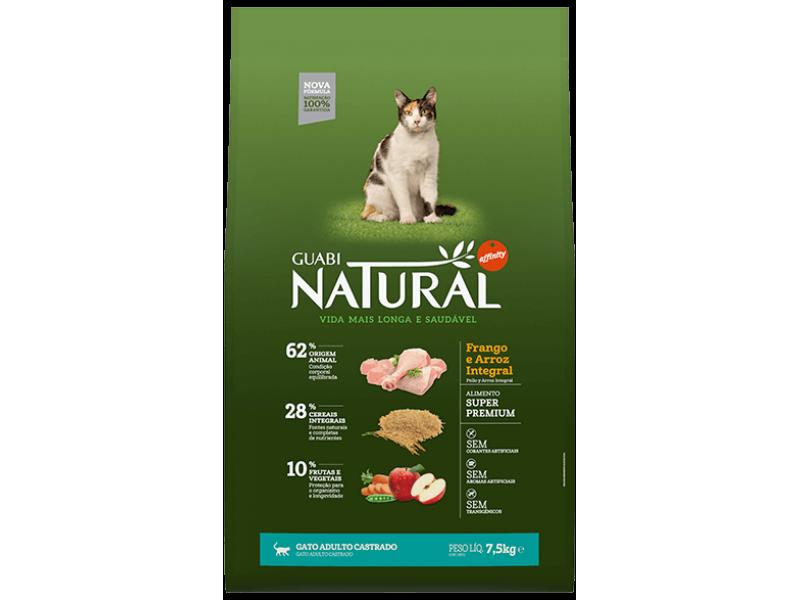 Guabi Natural Сухой корм с ЦЫПЛЕНКОМ и КОРИЧНЕВЫМ РИСОМ для КАСТРИРОВАННЫХ кошек (Adult Cat Castrated Chicken/Rice), 7,5 кг - Фото