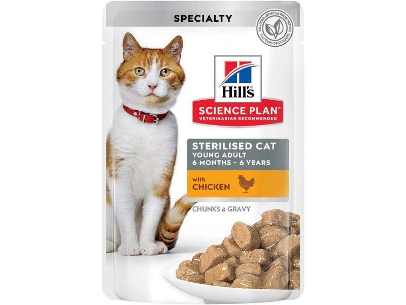 Hill's Science Plan Паучи с КУРИЦЕЙ В СОУСЕ для СТЕРИЛИЗОВАННЫХ кошек и КАСТРИРОВАННЫХ котов (Sterilised Cat), 85 гр - Фото