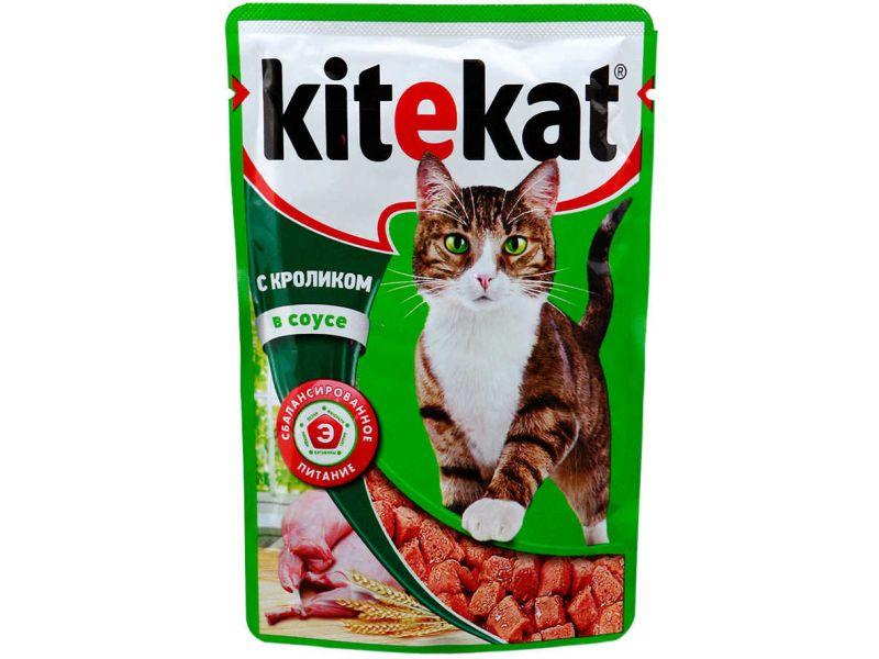 Kitekat Паучи с КРОЛИКОМ в СОУСЕ для кошек, 85 гр    - Фото