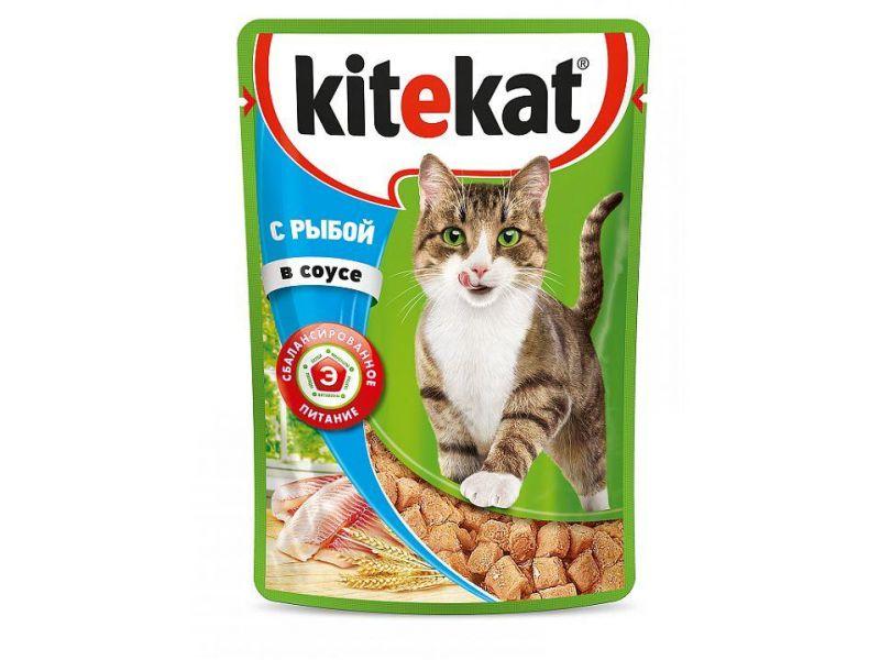 Kitekat Паучи с РЫБОЙ в соусе для кошек, 85 гр   - Фото
