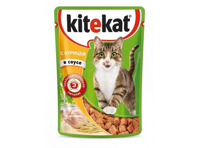 Kitekat Паучи с КУРИЦЕЙ в СОУСЕ для кошек, 85 гр    - Фото