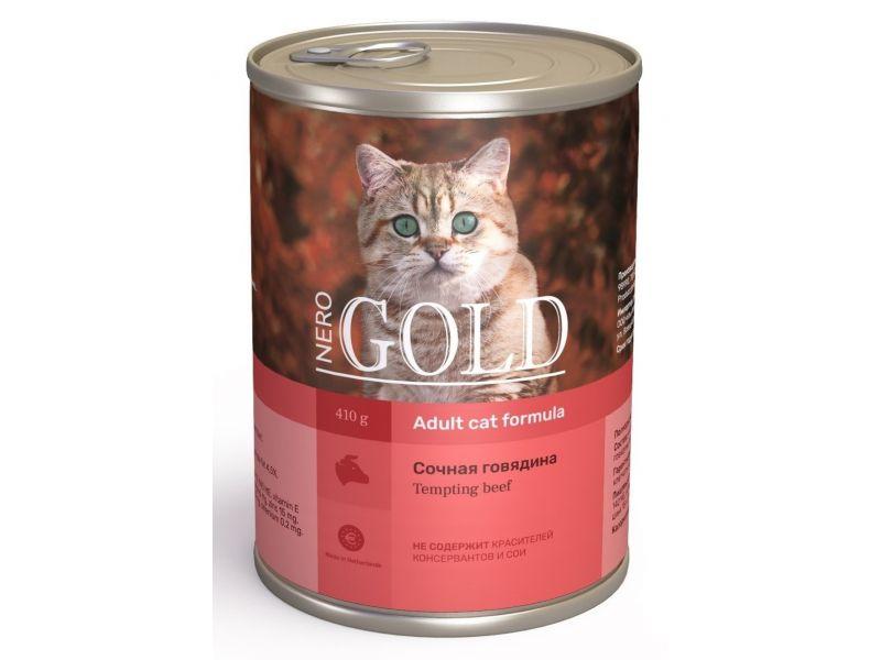 """Акция!!! Nero Gold Влажное питание (консервы) """"Сочная говядина"""" для кошек (Tempting Beef) - Фото"""