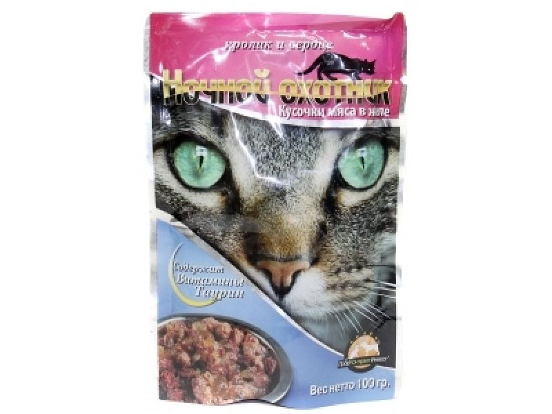 Ночной охотник Влажный корм (паучи) КРОЛИК и СЕРДЦЕ в желе для кошек, 100 гр - Фото