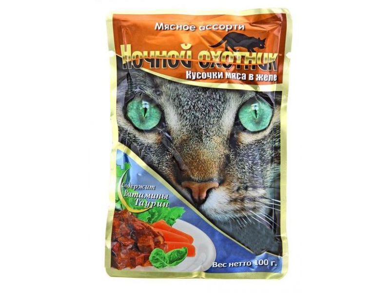 Ночной охотник Влажный корм (паучи) МЯСНОЕ АССОРТИ в желе для кошек, 100 гр - Фото