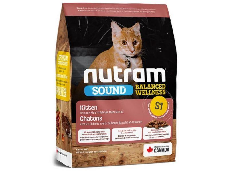 Nutram Сухой корм для КОТЯТ (S1 Sound Balanced Wellness Kitten), 1,13 кг - Фото