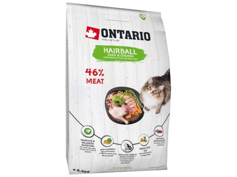 Ontario Сухой корм с КУРИЦЕЙ и УТКОЙ для ВЫВОДА ШЕРСТИ, для кошек (Ontario Cat Hairball) - Фото