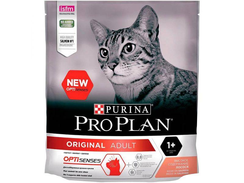 Purina Pro Plan Сухой корм с ЛОСОСЕМ для ВЗРОСЛЫХ кошек, для поддержания органов чувств (Optisenses Original Adult) - Фото