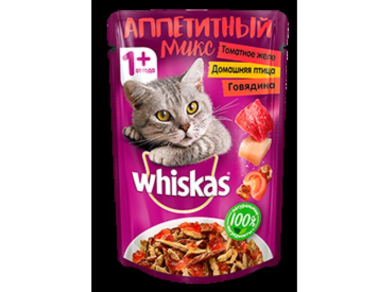 """Whiskas Паучи """"Аппетитный микс с ГОВЯДИНОЙ и домашней птицей"""" в томатном желе, для кошек, 85 гр   - Фото"""