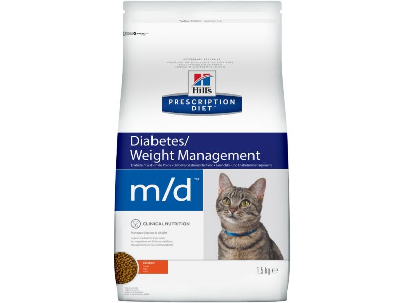 Сухой веткорм Hill's Prescription Diet™  m/d для кошек при лечении сахарного диабета, 1,5 кг - Фото