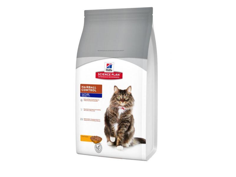Сухой корм Hill's Science Plan™ с ИНДЕЙКОЙ и КУРИЦЕЙ для пожилых кошек - ВЫВОД ШЕРСТИ (Mature Hairball), 1,5 кг - Фото