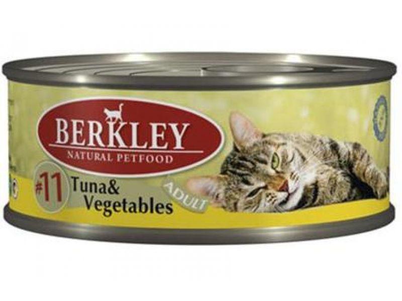 Влажный корм (консервы) Berkley с ТУНЦОМ и ОВОЩАМИ для КОШЕК (Adult Tuna&Vegetables), 100 г  - Фото