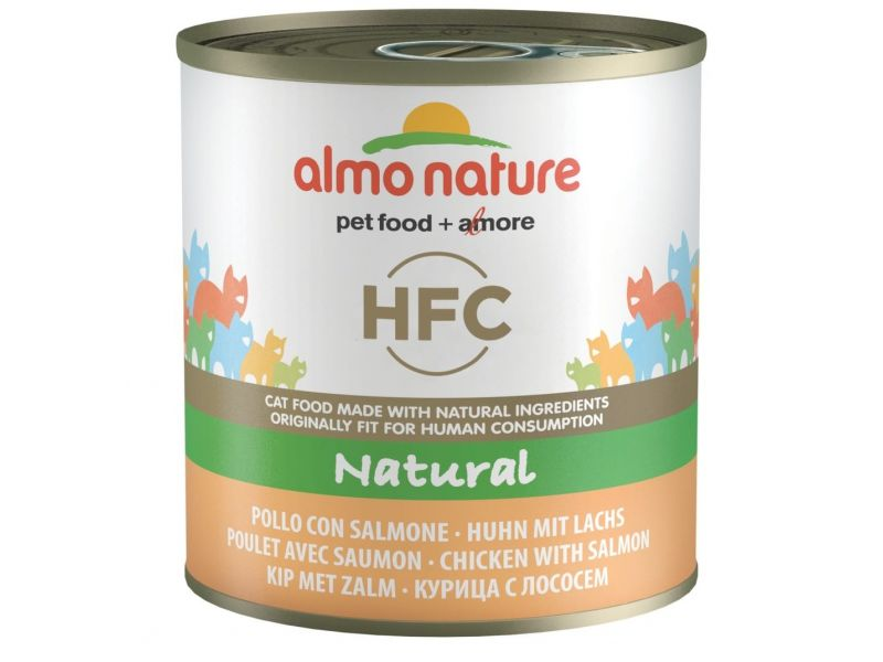 Almo Nature Classic Консервы с ЛОСОСЕМ и КУРИЦЕЙ для кошек (Classic HFC Adult Cat Salmon&Chicken), 280 гр - Фото