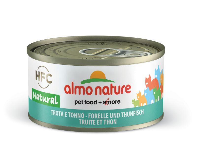 Консервы Almo Nature с ФОРЕЛЬЮ и ТУНЦОМ 75% мяса для кошек (Legend Adult Cat Trout&Tuna), 70 г - Фото